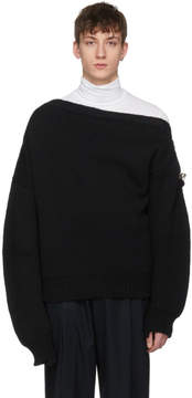 Raf Simons Black Boatneck Buckles Sweater