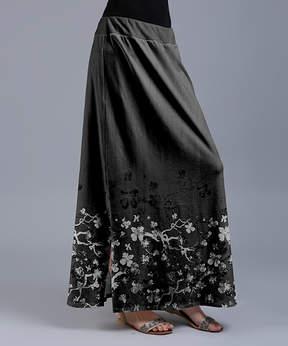 Lily Gray & White Floral Maxi Skirt - Women & Plus