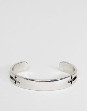 ICON BRAND Cross Cuff Bangle Bracelet In Silver