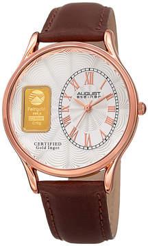 August Steiner Mens Brown Strap Watch-As-8224rg