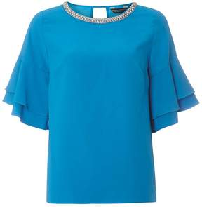 Dorothy Perkins Turquoise Embellished Ruffle Sleeve Top