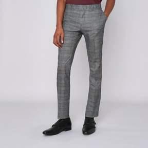River Island Mens Brown check super skinny suit pants