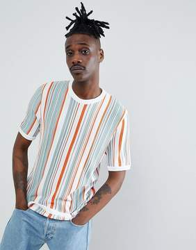 Asos DESIGN Knitted T-Shirt With Vertical Stripes In Ecru