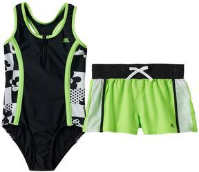 ZeroXposur Girls 7-16 One-Piece Swimsuit & Shorts Set