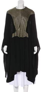 Esteban Cortazar Metallic Knit Poncho w/ Tags