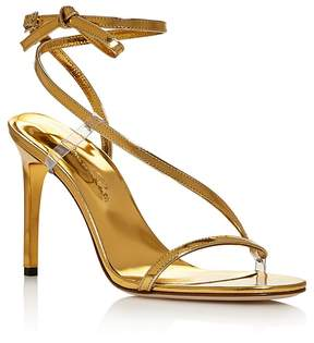 Oscar de la Renta Romy Metallic Ankle Strap High Heel Sandals