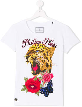 Philipp Plein Junior Cyrstel But Tiger T-shirt