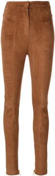 Balmain high-waisted suede trousers