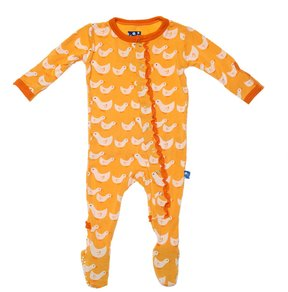 Kickee Pants Baby Girl's Muffin Ruffle Footie - Fuzzy Bee Ducks