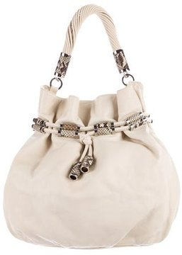 Michael Kors Python-Trimmed Leather Bucket Bag - NEUTRALS - STYLE