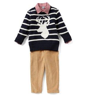 Class Club Little Boys 2T-7 Striped Deer Sweater, Button-Down Shirt, & Pants 3-Piece Set
