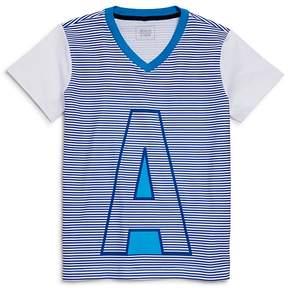 Armani Junior Boys' Striped Logo V-Neck Tee - Little Kid, Big Kid