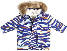 Kenzo Cotton Canvas Parka W/ Faux Fur