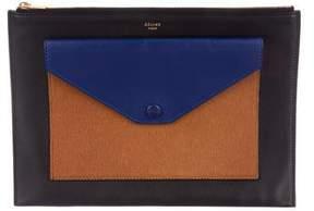Celine Tricolor Envelope Zip Clutch