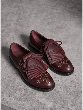 Burberry Lace-up Kiltie Fringe Riveted Leather Loafers