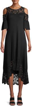 Neiman Marcus Cold-Shoulder High-Low Dress w/ Lace Trim