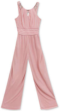 Rare Editions Embellished Neck Jumpsuit, Big Girls
