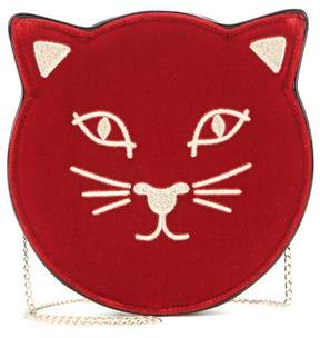 Charlotte Olympia Pussycat embroidered velvet shoulder bag