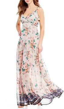 Chelsea & Violet C&V Floral Print Lace Up Back Maxi Dress