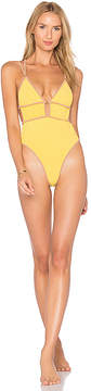 For Love & Lemons Capri Scrunchy One Piece in Yellow. - size L (also in M,S,XS)