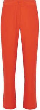 Equipment Niko Washed-silk Wide-leg Pants - Bright orange