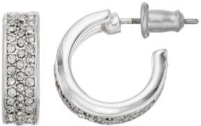 Chaps Wide Pave Nickel Free Hoop Earrings
