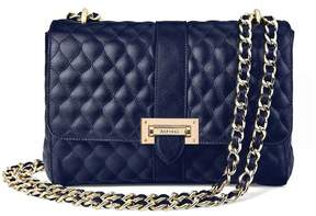Aspinal of London Large Lottie Bag In Navy Quilted Kaviar