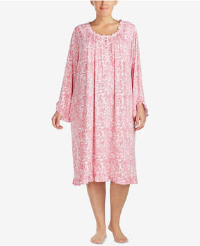 Eileen West Plus Size Ruffled-Trim Modal-Blend Nightgown