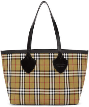 Burberry Reversible Yellow and Red Medium Check Tote