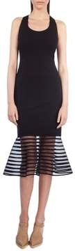 Akris Punto American Stripe Tulle Hem Sheath Dress