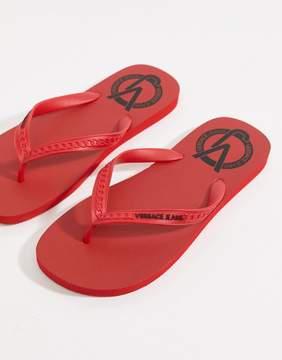 Versace Logo Flip Flops In Red