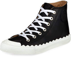 Chloé Scalloped Leather High-Top Sneakers, Black
