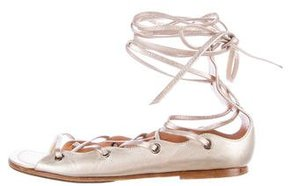 Alaia Metallic Lace-Up Sandals