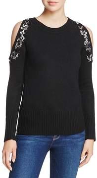 Aqua Embellished Cold-Shoulder Sweater - 100% Exclusive
