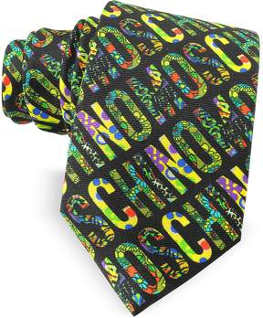 Moschino Black & Multicolor Print Twill Silk Narrow Tie