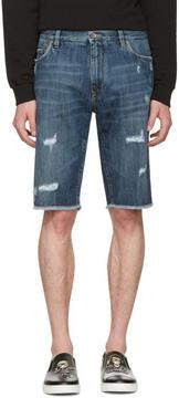 Dolce & Gabbana Blue Denim Frayed Shorts
