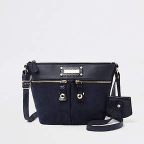River Island Navy double pocket cross body bag