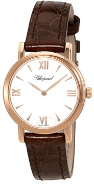 Chopard Classic White Dial Black Leather Ladies Watch