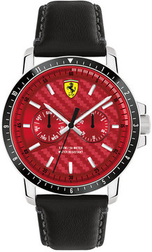 Ferrari Men's Turbo Black Leather Strap Watch 42mm