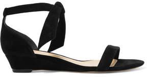 Alexandre Birman Atena Bow-embellished Suede Wedge Sandals - Black