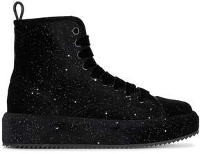 Marco De Vincenzo Velvet Glitter Flatform Hi Top Sneakers