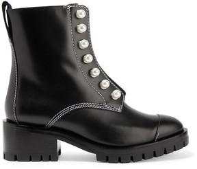 3.1 Phillip Lim Lug Sole Zipper Embellished Leather Ankle Boots - Black