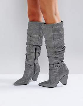 Asos CHAPTER Ruched Knee Boots