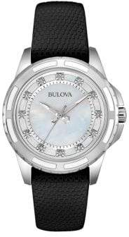Bulova Diamond, Stainless Steel and Leather Watch- 98P139