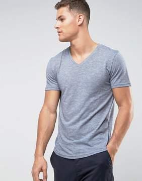 Tom Tailor V-Neck T-Shirt In Melange Cotton