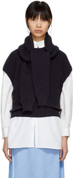 Carven Navy Oversized Wrap Sweater