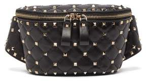 Valentino Rockstud Spike Quilted Leather Belt Bag - Womens - Black