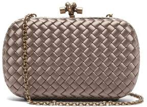 Bottega Veneta Knot Satin And Watersnake Clutch - Womens - Grey