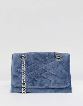 MANGO Velvet Quilted Chain Handle Bag
