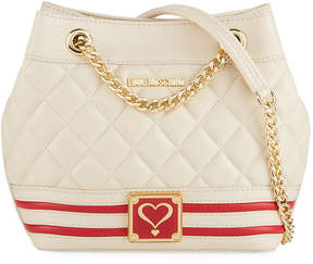 Love Moschino Quilted Faux-Napa Bucket Bag with Stripes